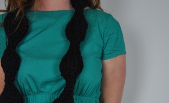 Knitted necklace with large black bead